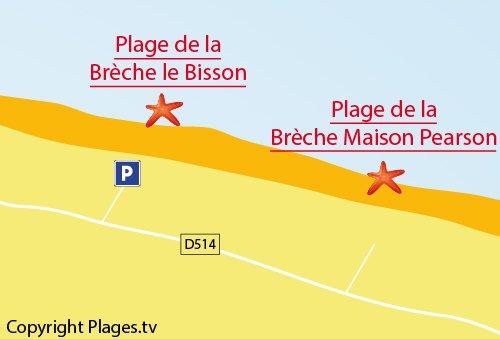 Map of Brèche le Bisson Beach in Graye sur Mer
