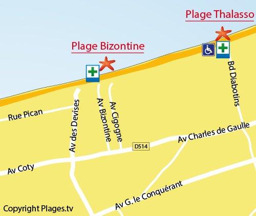 Carte de la plage de Bizontine de Cabourg