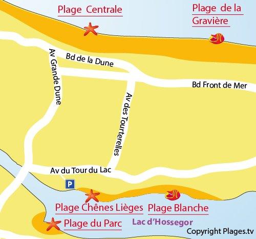 Carte de la plage Blanche au lac d'Hossegor