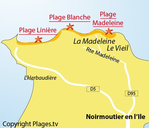 Map of Blanche Beach in Noirmoutier