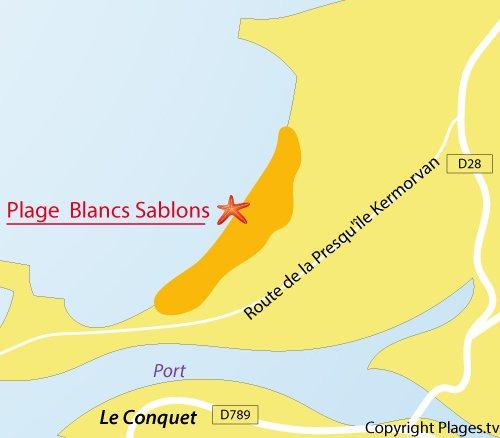 Carte de la plage des Blancs Sablons à Le Conquet