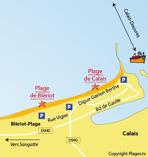Map of the Blériot Beach in Sangatte