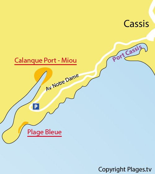 Map of the Bleue Beach in Cassis