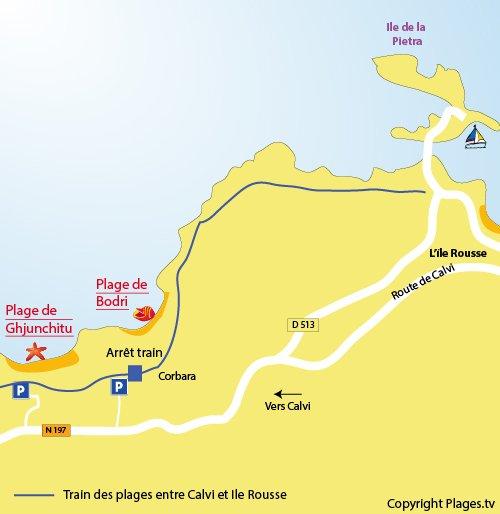 Carte de la plage de Bodri à l'Ile Rousse - Corse
