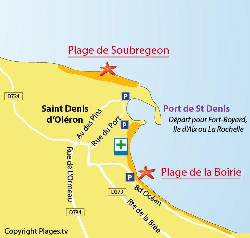Plan de la plage de la Boirie à St Denis d'Oléron