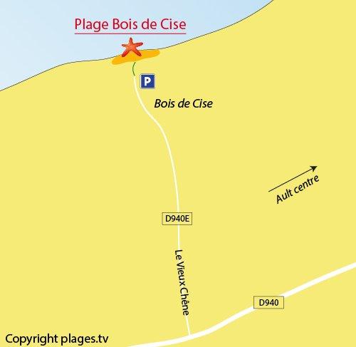 Carte de la plage du Bois de Cise à Ault