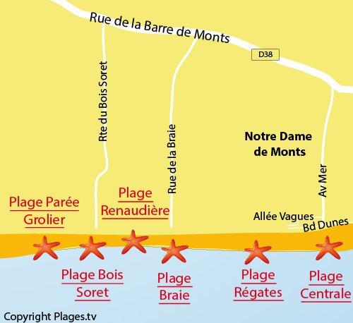 Carte de la plage du Bois Soret à Notre Dame de Monts