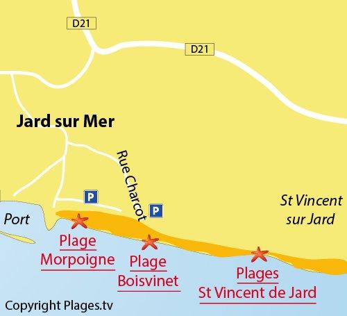 Carte de la plage de Boisvinet à Jard sur Mer