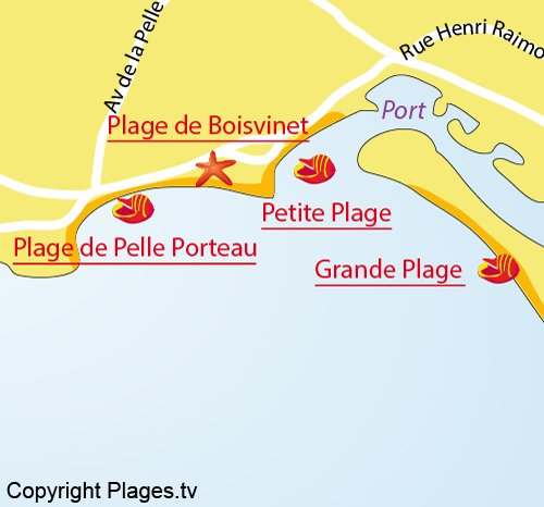 Map of Boisvinet Beach in Saint Gilles Croix de Vie