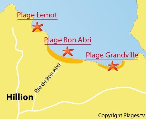 Carte de la plage de Bon Abri à Hillion