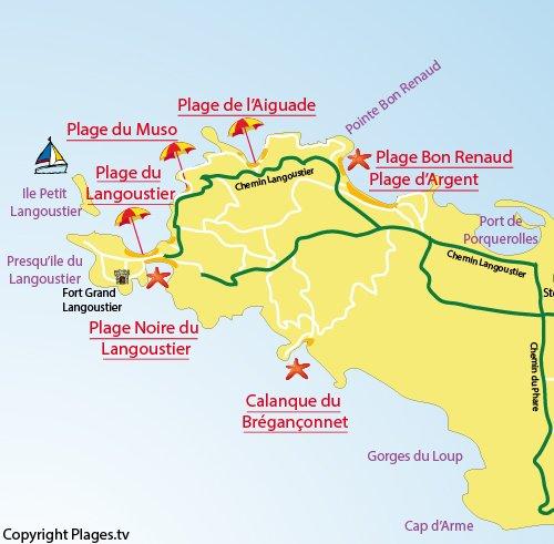 Carte de la plage de Bon Renaud à Porquerolles