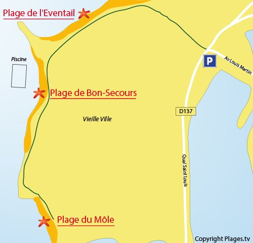 Map of the Bon Secours Beach in Saint-Malo