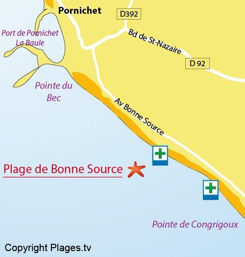 Carte de la plage de la Bonne Source à Pornichet