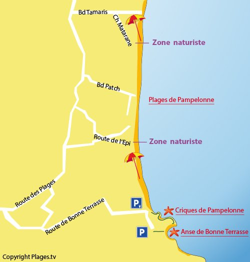 Map of Bonne Terrasse Beach in Ramatuelle