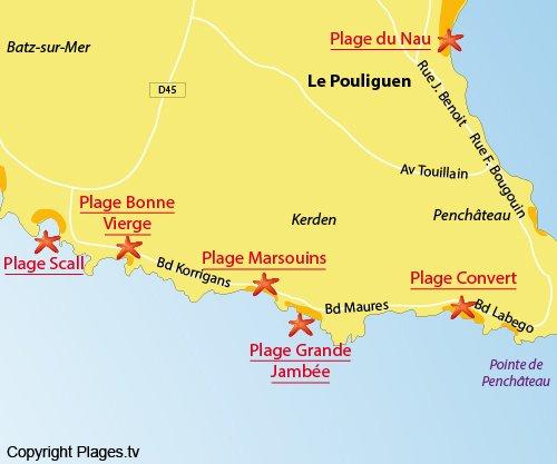 Mappa della Spiaggia della Bonne Vierge - Le Pouliguen