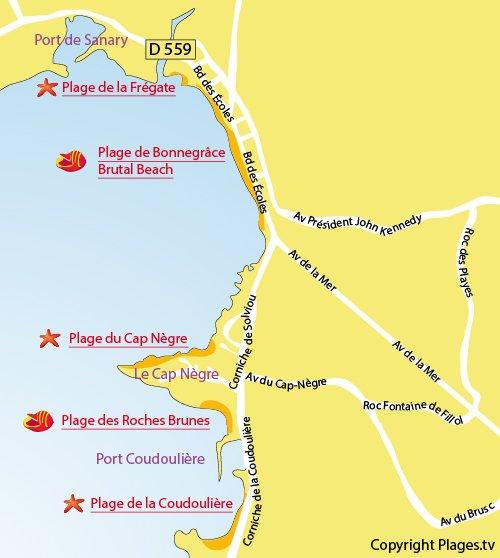 Carte de la plage de Bonnegrâce et Brutal Beach à Six Fours dans le Var