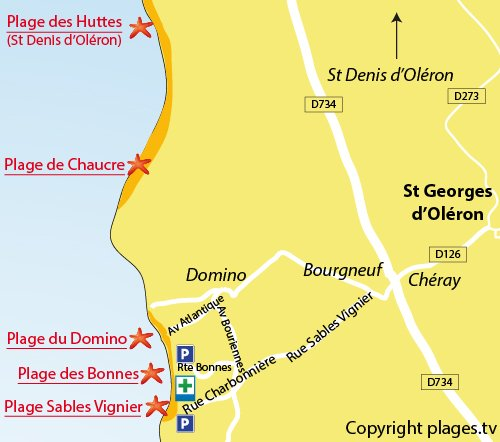 Map of Bonnes Beach in St Georges d'Oléron