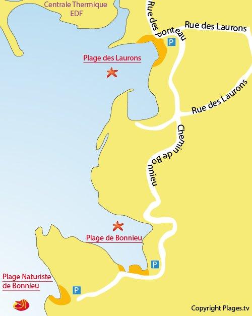 Map of Bonnieu's Naturist Beach in Martigues La Couronne
