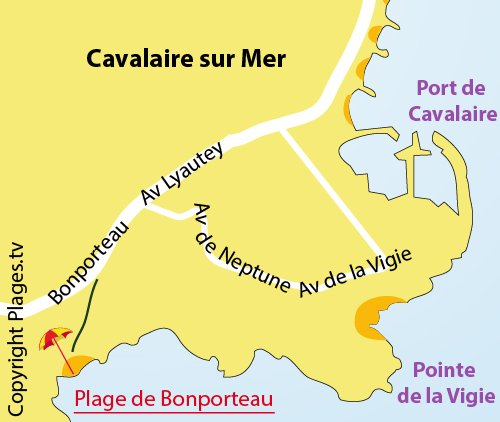 Carte de la plage de Bonporteau à Cavalaire sur Mer - 83