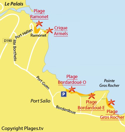 Carte des criques de Bordardoué-Est à Belle Ile en Mer