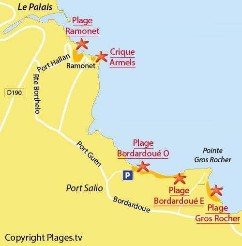 Carte de la plage de Bordardoué à Belle Ile en Mer