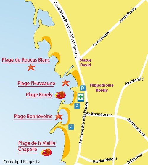 Map of Borély Beach in Marseille