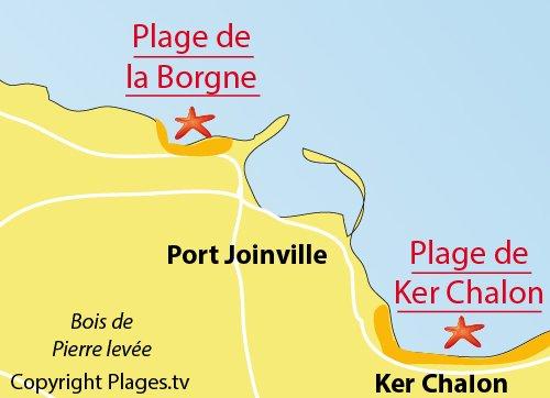 Carte de la plage de la Borgne sur l'ile d'Yeu