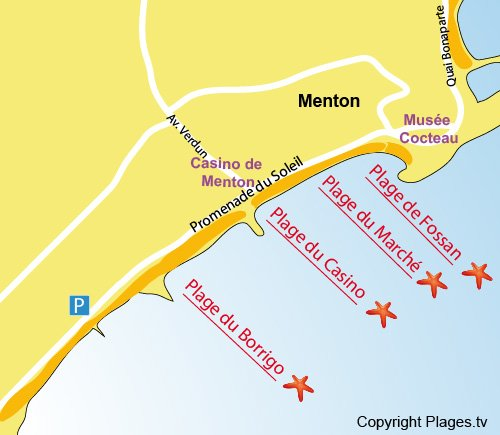 Map of Borrigo beach in Menton
