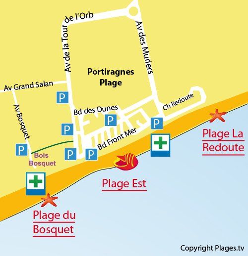 Map of Bosquet Beach in Portiragnes