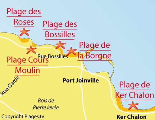 Map of Bossilles Beach in Ile d'Yeu