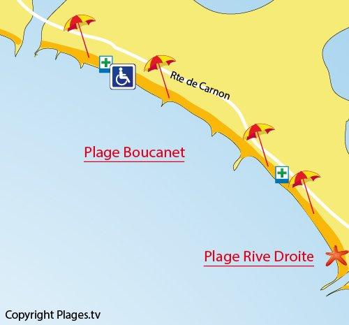 Mappa della Spiaggia Boucanet a Grau du Roi