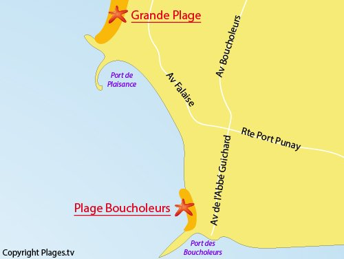 Map of Boucholeurs Beach in Chatelaillon