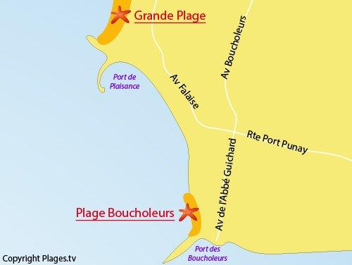 Carte de la plage des Boucholeurs à Chatelaillon