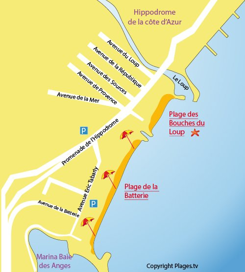 Map of Bouches du Loup Beach in Villeneuve-Loubet