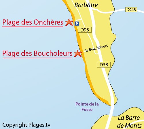 Map of Boucholeurs Beach in Noirmoutier in France