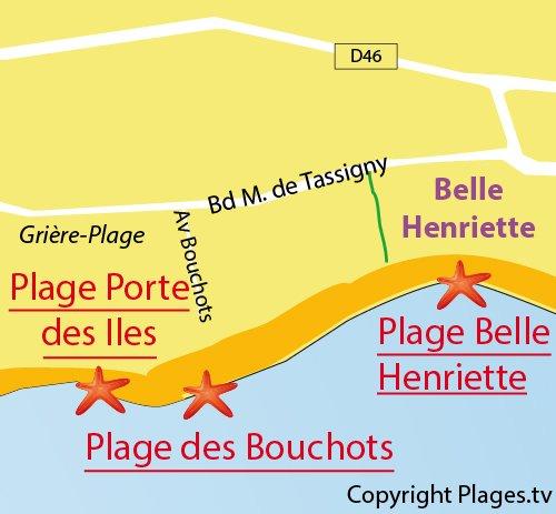 Map of Bouchots Beach - La Tranche sur Mer