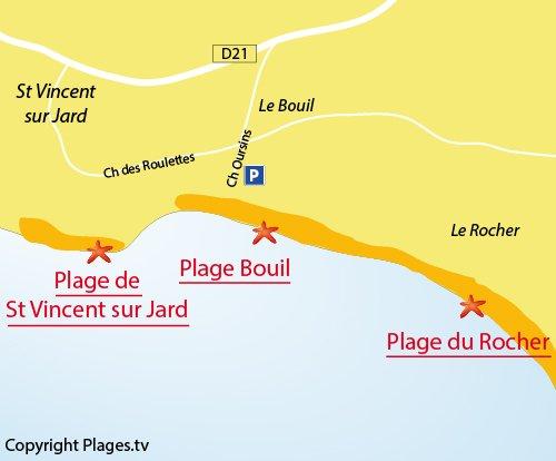 Map of Bouil Beach in Longeville sur Mer