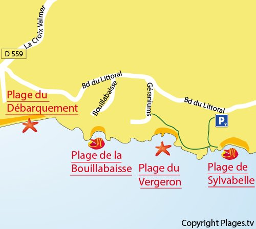 Carte de la plage de la Bouillabaisse à La Croix Valmer