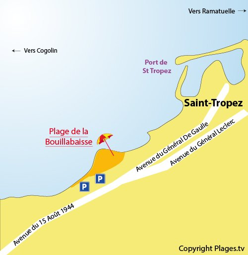 Map of Bouillabaisse Beach in Saint Tropez - France