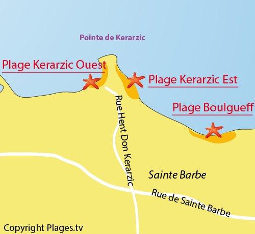 Carte de la plage de Boulgueff de Paimpol