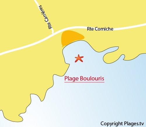 Carte de la plage de Boulouris à St Raphaël
