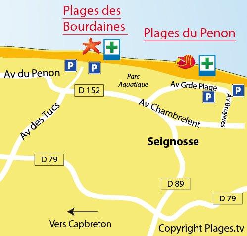 Carte de la plage des Bourdaines à Seignosse