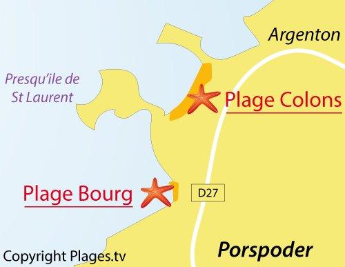 Carte de la plage du Bourg de Porspoder - Bretagne