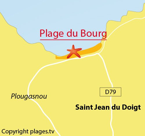 Map of Bourg Beach in Saint Jean du Doigt - Plougasnou