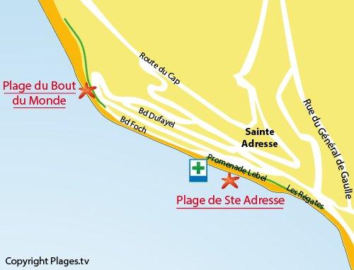 Carte de la plage du Bout du Monde à Ste Adresse