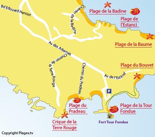 Carte de la plage du Bouvet à Hyères