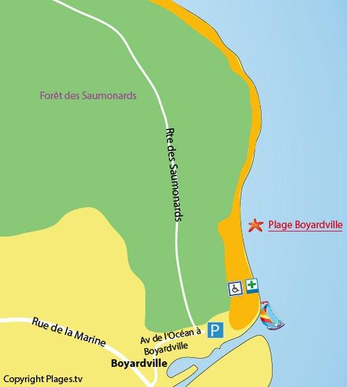 Map of Boyardville beach in Oleron