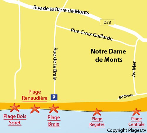 Map of Braie Beach in Notre Dame de Monts