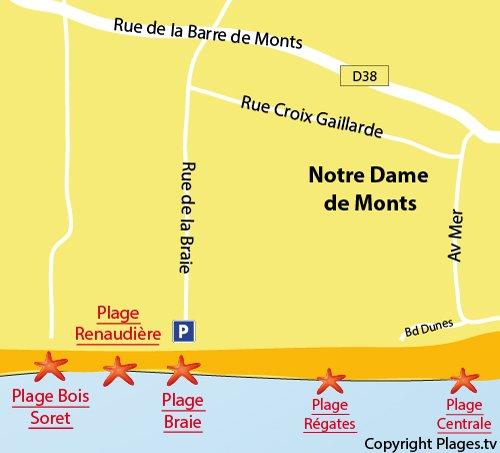 Plan de la plage de la Braie à Notre Dame de Monts