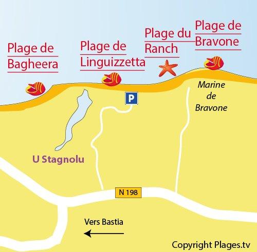 Map of Bravone beach in Linguizzetta in Corsica
